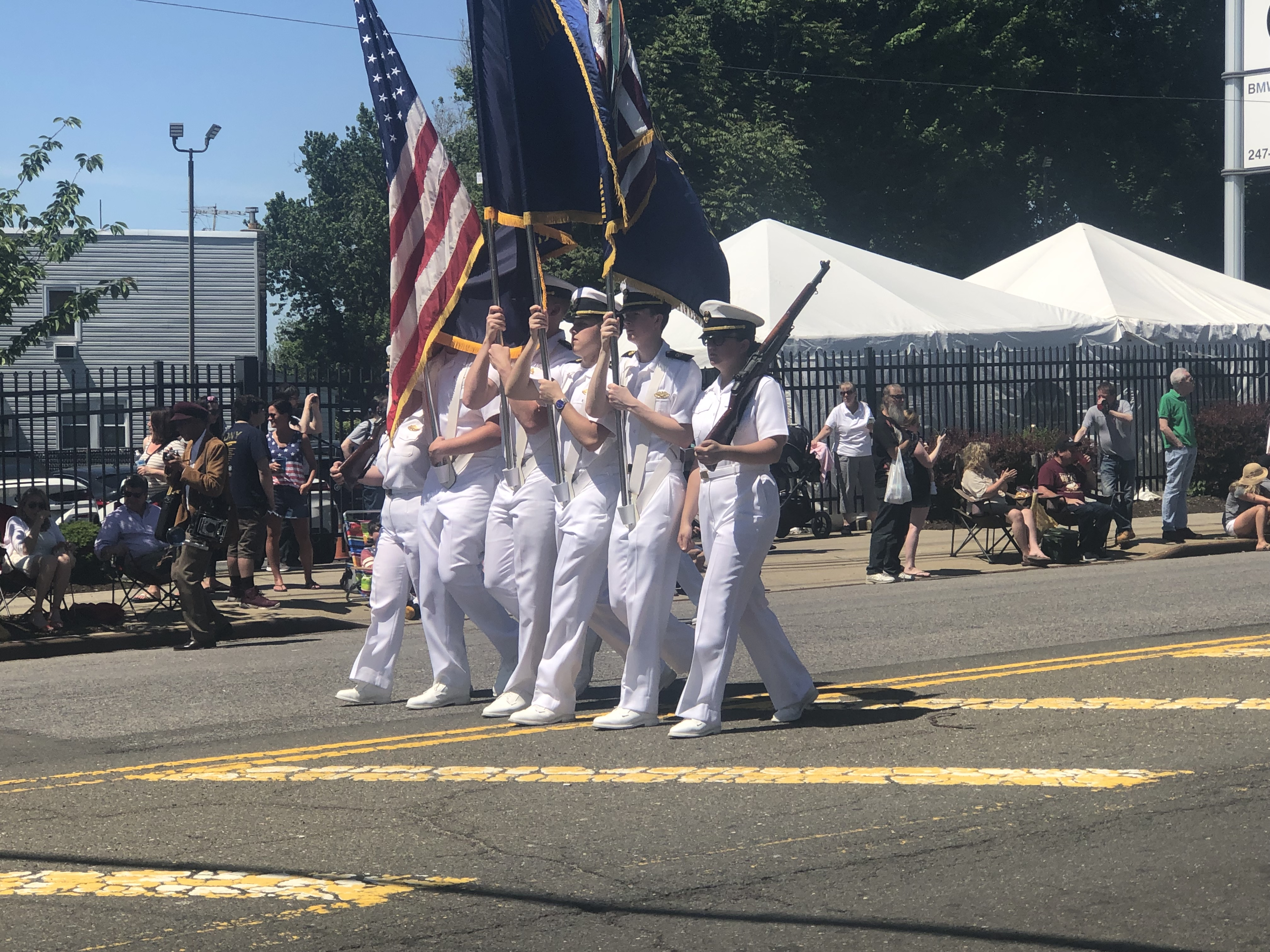 Regiment marching in the Little Neck-Douglaston Memorial Day Parade