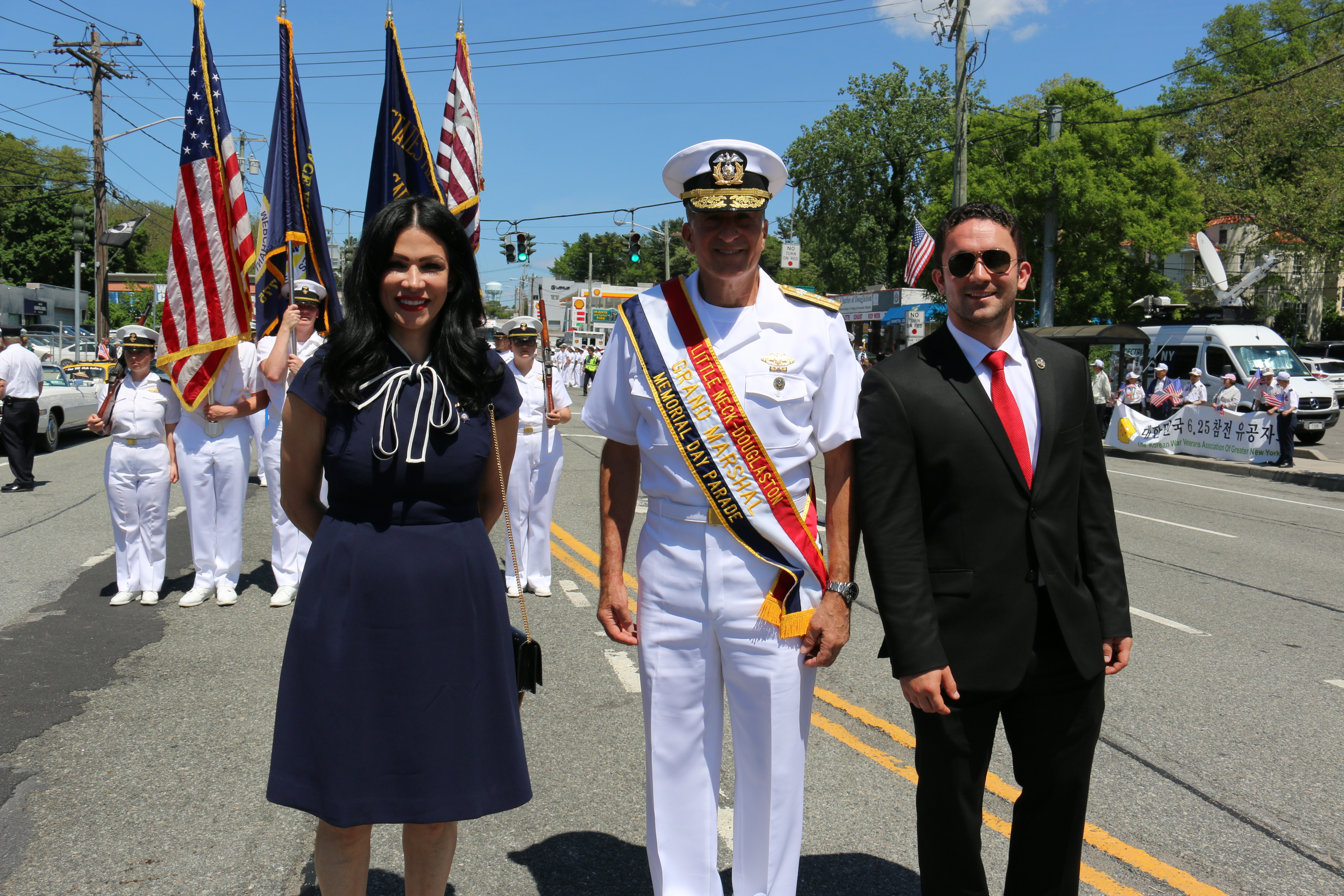 Ginger Delance, RADM Buono and John Buono followed by our Regimental Color Guard