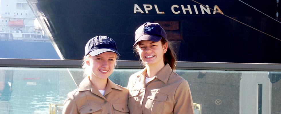 Midshipmen Saxon and Koval aboard the APL China