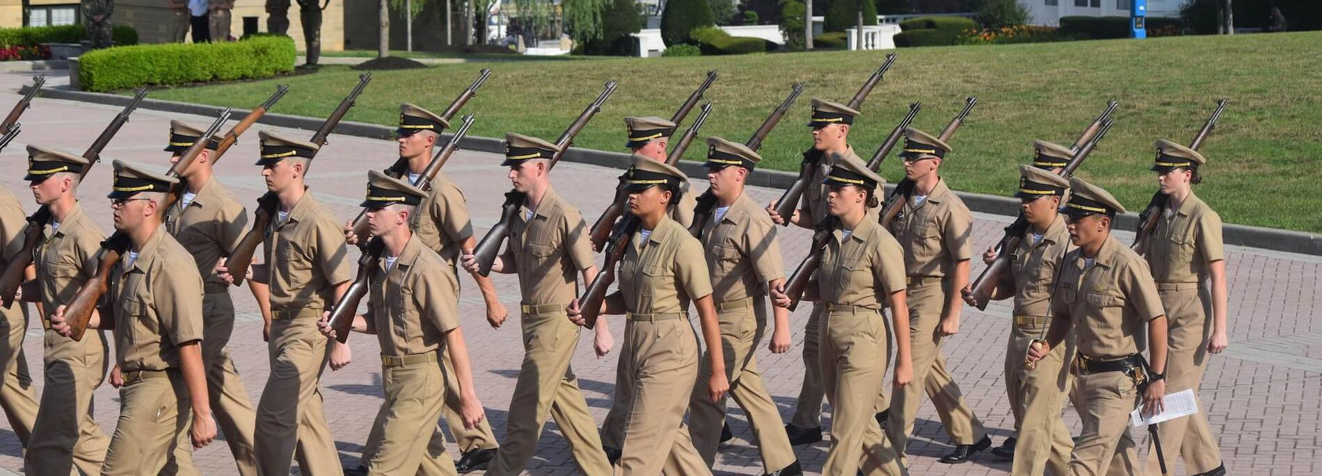 Cadets marching in formation