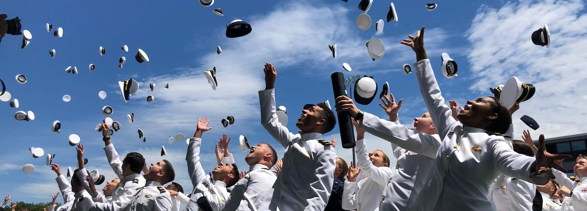 Cadets tossing hats